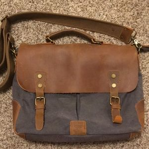 Genuine leather and canvas laptop bag